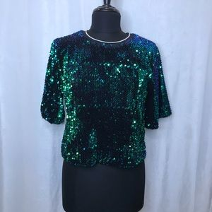 DO+BE blue/green full sequin 3/4 sleeve top